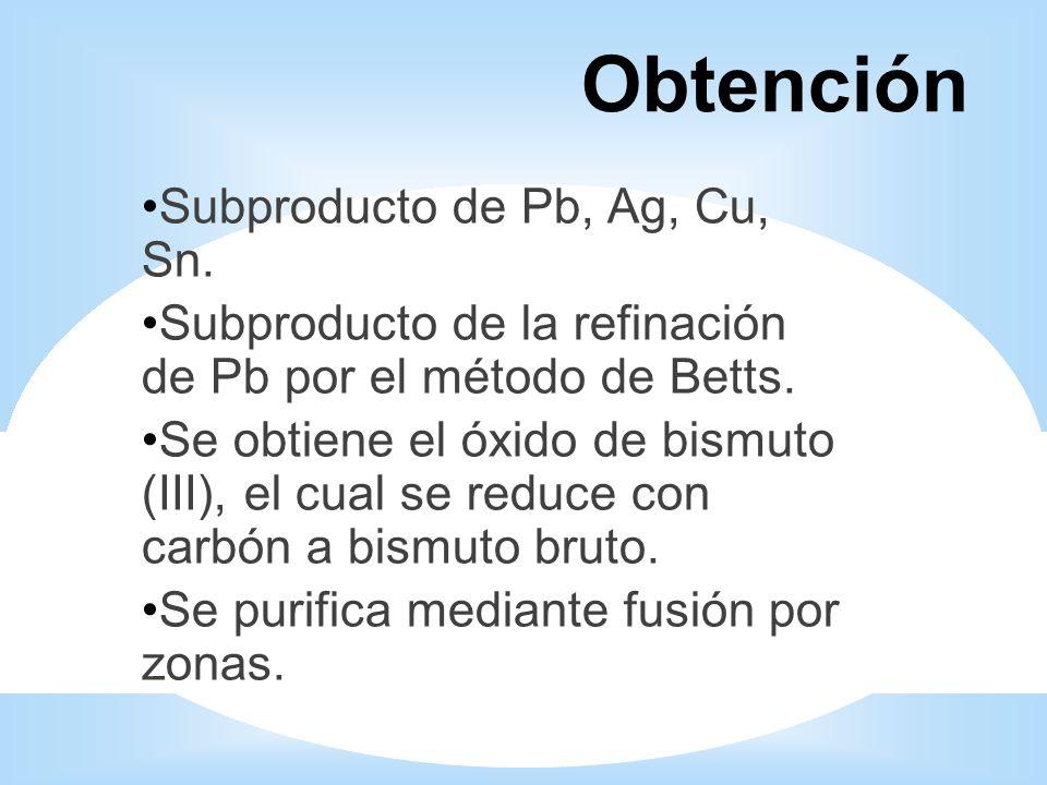 Obtención Subproducto de Pb, Ag, Cu, Sn.