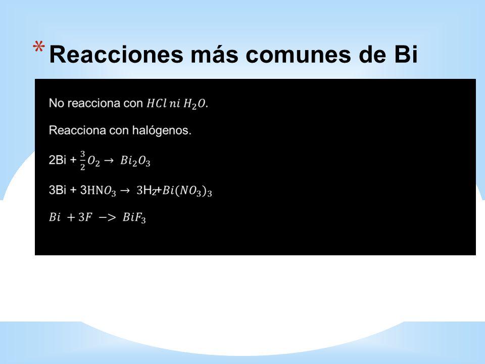 Reacciones más comunes de Bi