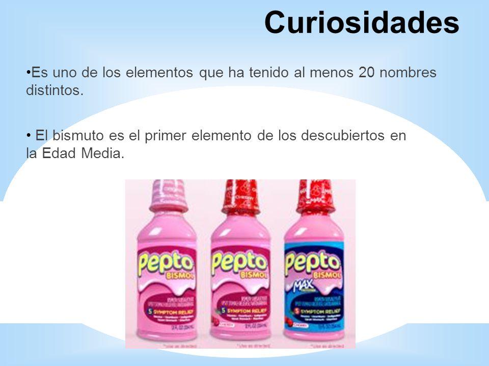 Curiosidades Es uno de los elementos que ha tenido al menos 20 nombres distintos.