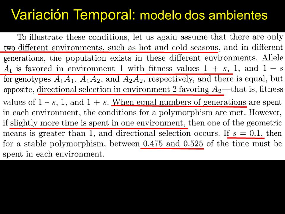 Variación Temporal: modelo dos ambientes