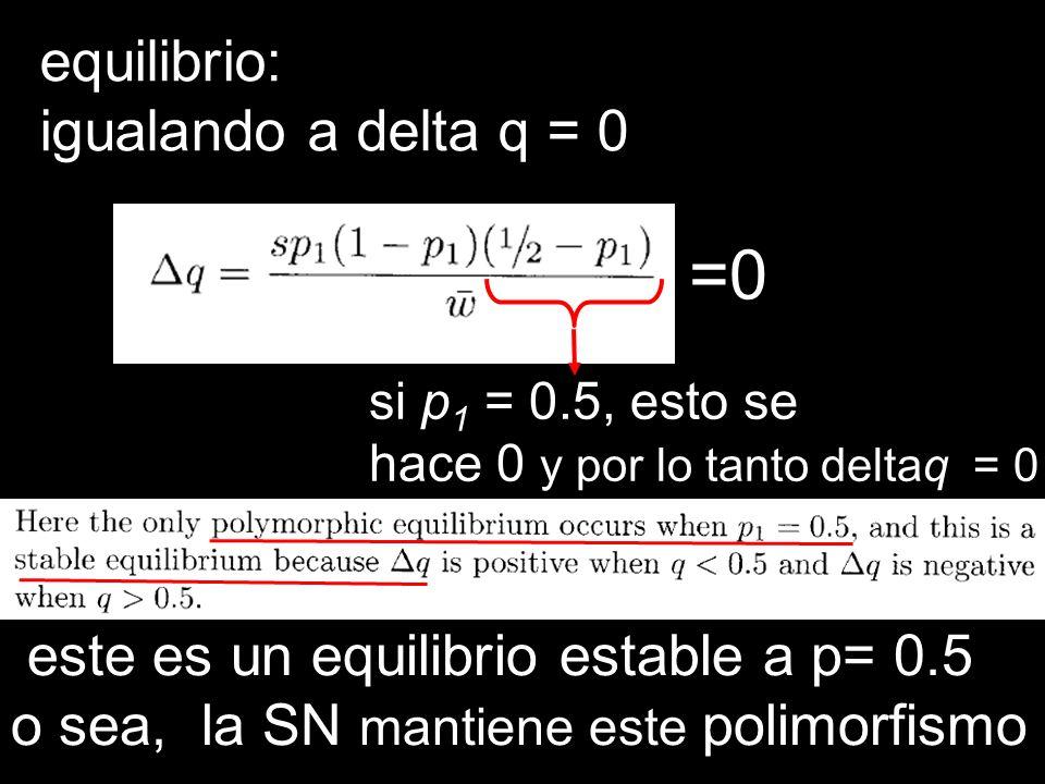 =0 equilibrio: igualando a delta q = 0