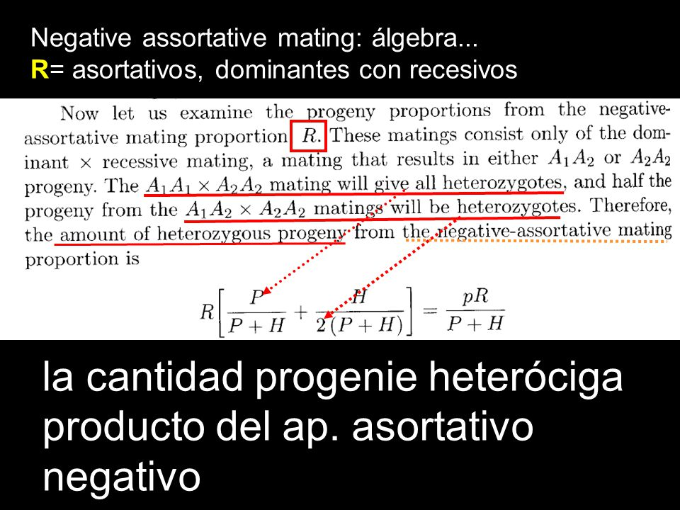la cantidad progenie heteróciga producto del ap. asortativo negativo