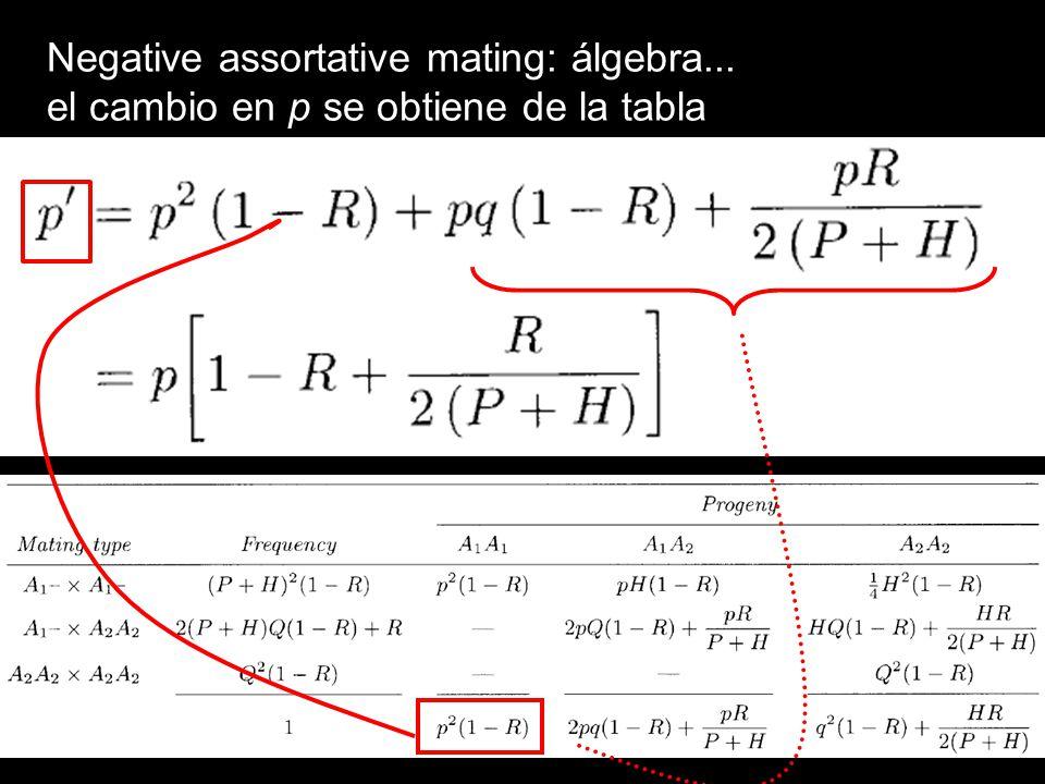 Negative assortative mating: álgebra...