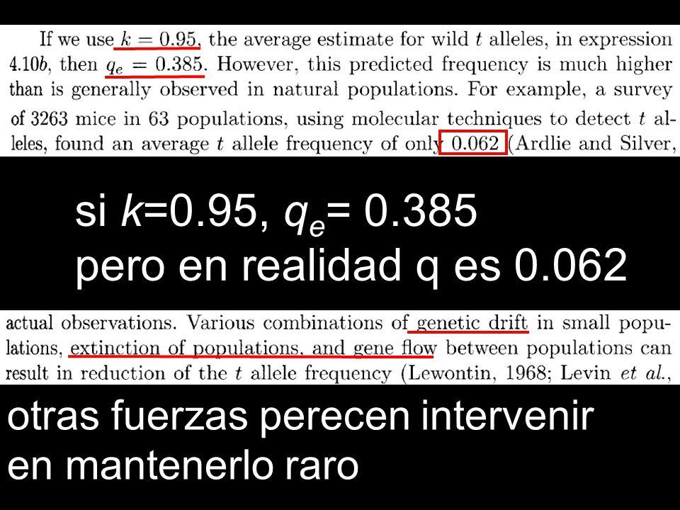 si k=0.95, qe= 0.385 pero en realidad q es 0.062