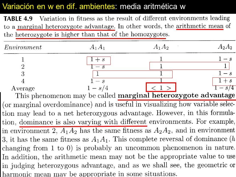 Variación en w en dif. ambientes: media aritmética w