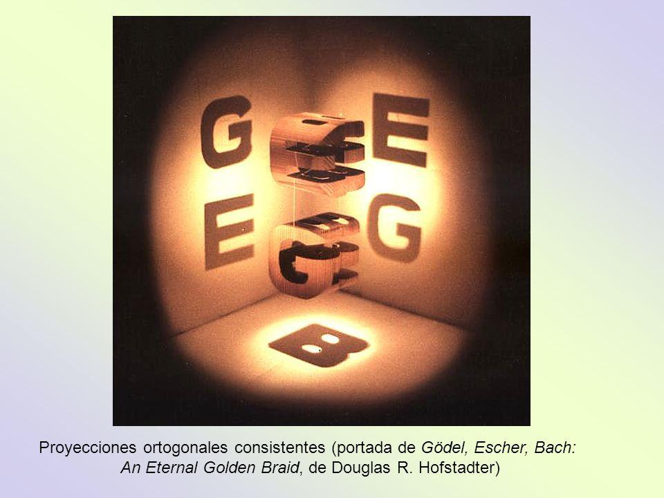 Proyecciones ortogonales consistentes (portada de Gödel, Escher, Bach: An Eternal Golden Braid, de Douglas R.