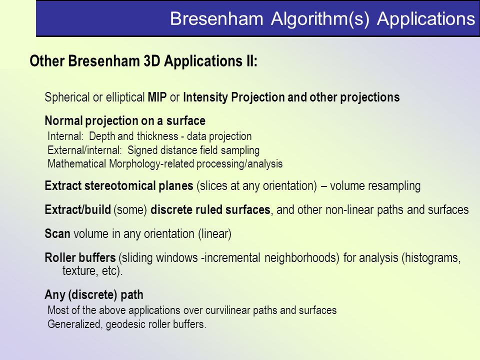 Bresenham Algorithm(s) Applications