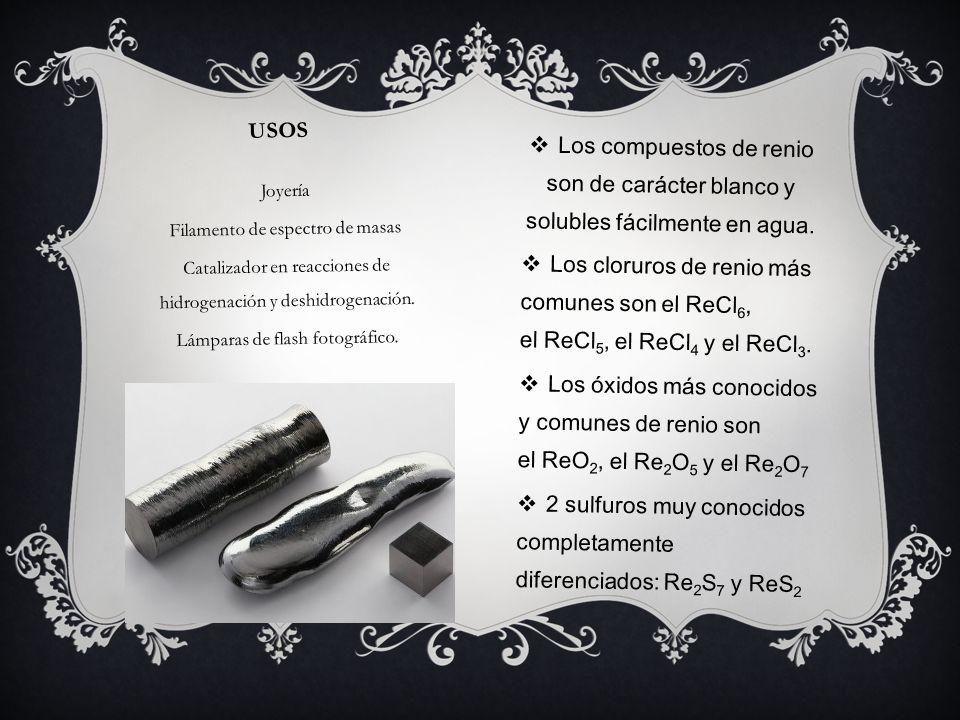 2 sulfuros muy conocidos completamente diferenciados: Re2S7 y ReS2