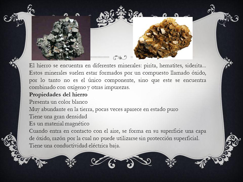El hierro se encuentra en diferentes minerales: pirita, hematites, siderita... Estos minerales suelen estar formados por un compuesto llamado óxido, por lo tanto no es el único componente, sino que este se encuentra combinado con oxígeno y otras impurezas.