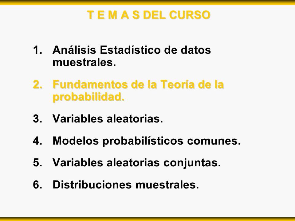 T E M A S DEL CURSO Análisis Estadístico de datos muestrales. Fundamentos de la Teoría de la probabilidad.