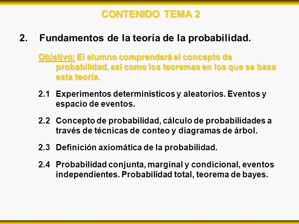 Fundamentos de la teoría de la probabilidad.