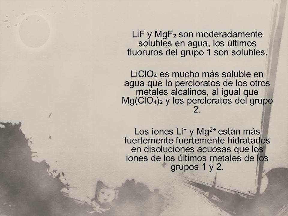 LiF y MgF₂ son moderadamente solubles en agua, los últimos fluoruros del grupo 1 son solubles.