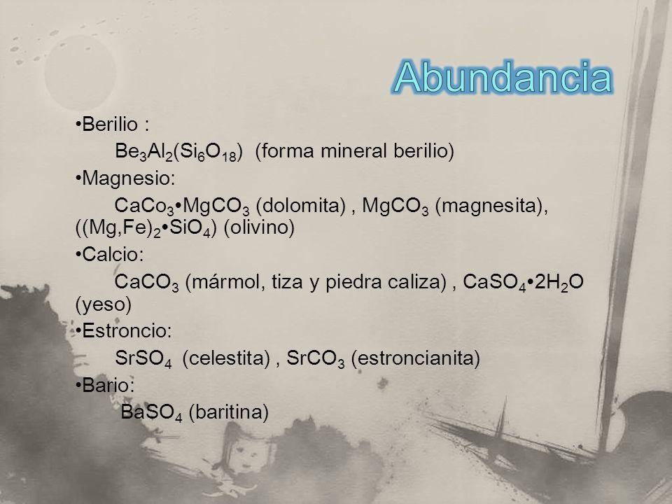 Abundancia Berilio : Be3Al2(Si6O18) (forma mineral berilio) Magnesio: