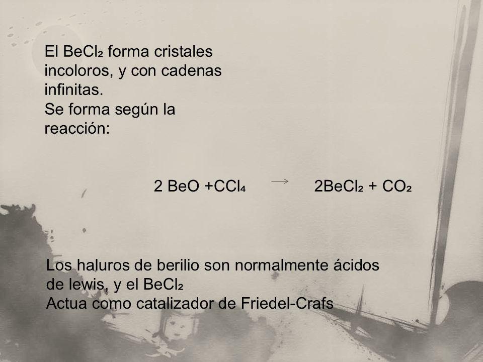 El BeCl₂ forma cristales incoloros, y con cadenas infinitas.