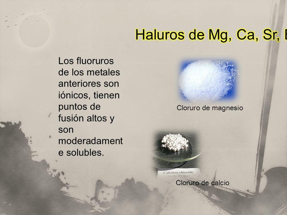 Haluros de Mg, Ca, Sr, Ba Los fluoruros de los metales anteriores son iónicos, tienen puntos de fusión altos y son moderadamente solubles.