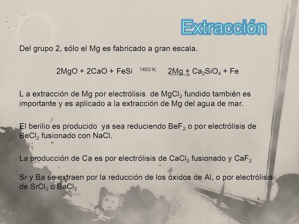 Extracción Del grupo 2, sólo el Mg es fabricado a gran escala.