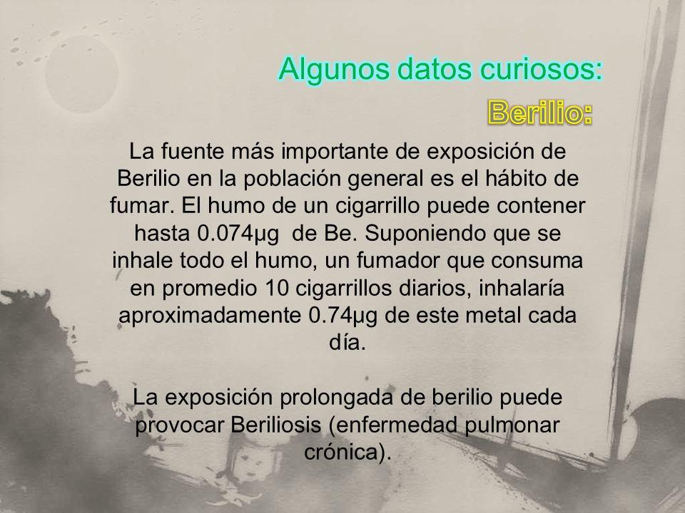 Algunos datos curiosos: Berilio: