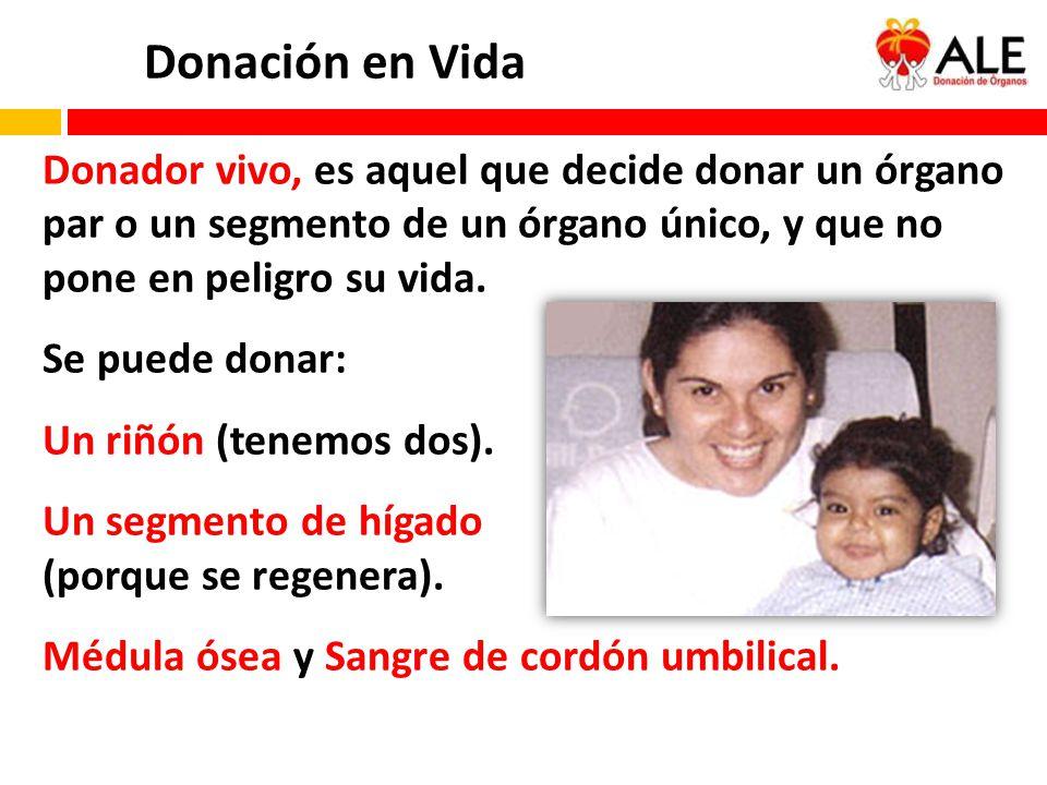 Donación en Vida Donador vivo, es aquel que decide donar un órgano par o un segmento de un órgano único, y que no pone en peligro su vida.