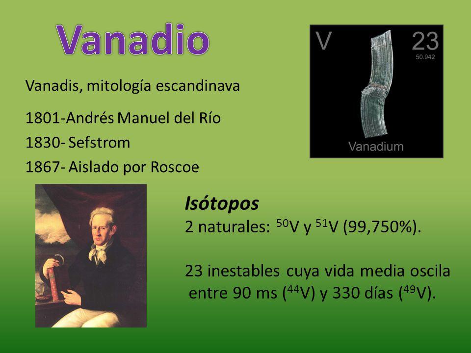 Vanadio Isótopos 2 naturales: 50V y 51V (99,750%).