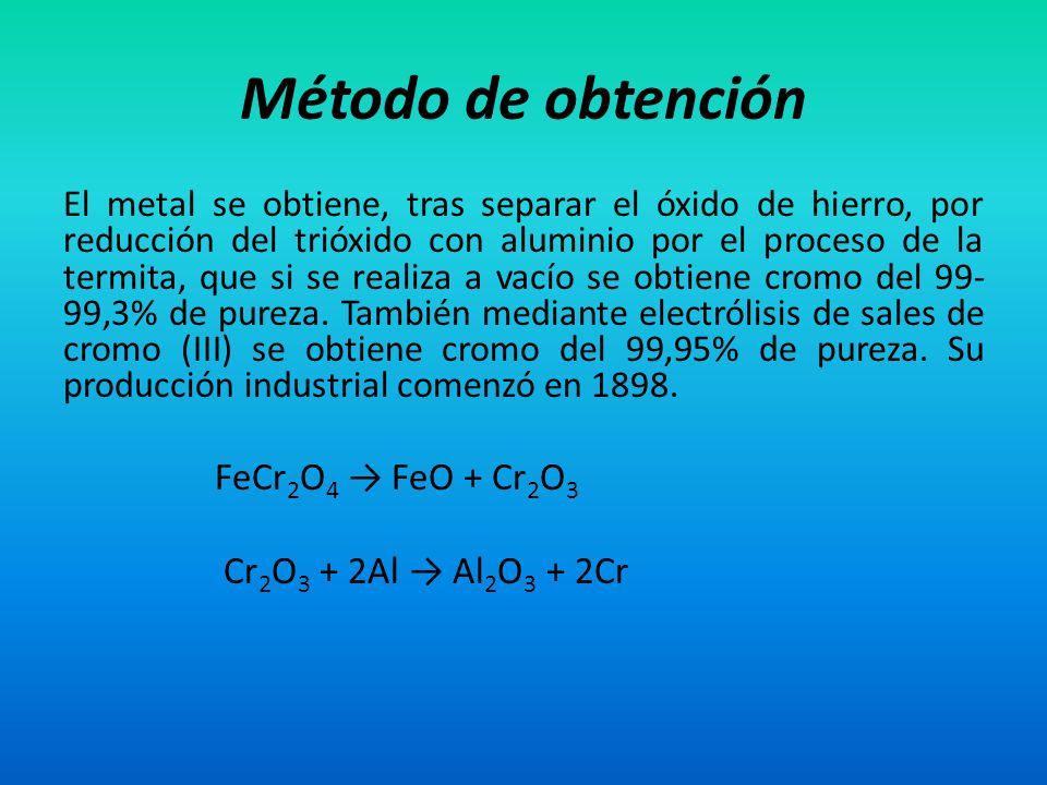 Método de obtención FeCr2O4 → FeO + Cr2O3 Cr2O3 + 2Al → Al2O3 + 2Cr