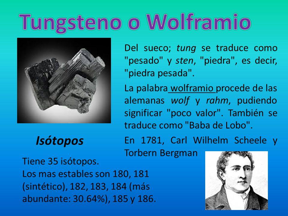 Tungsteno o Wolframio Isótopos