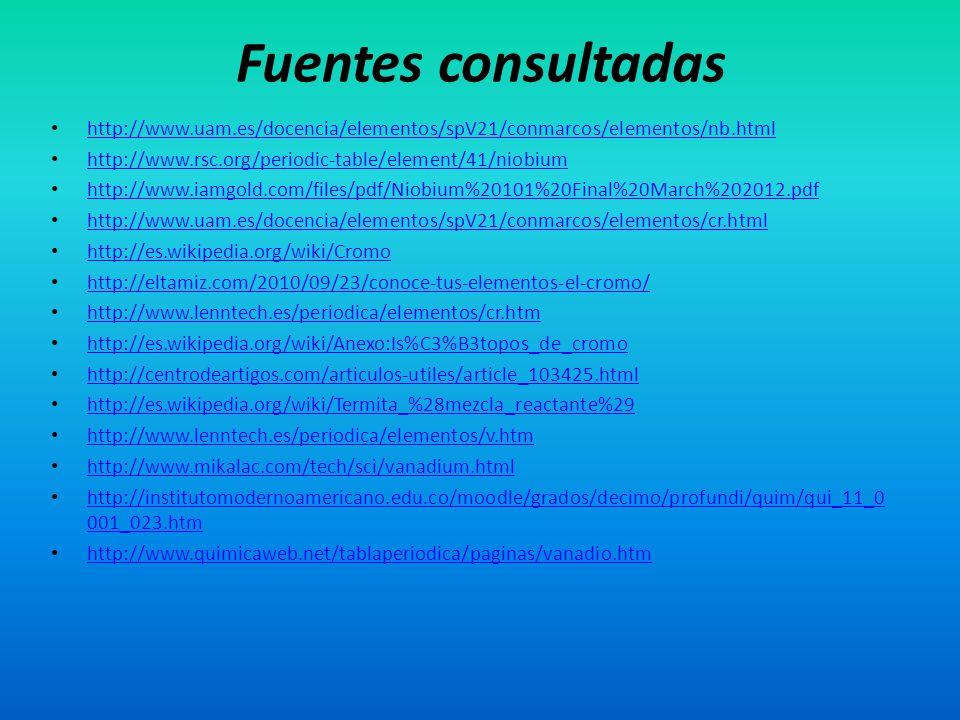 Fuentes consultadas http://www.uam.es/docencia/elementos/spV21/conmarcos/elementos/nb.html. http://www.rsc.org/periodic-table/element/41/niobium.