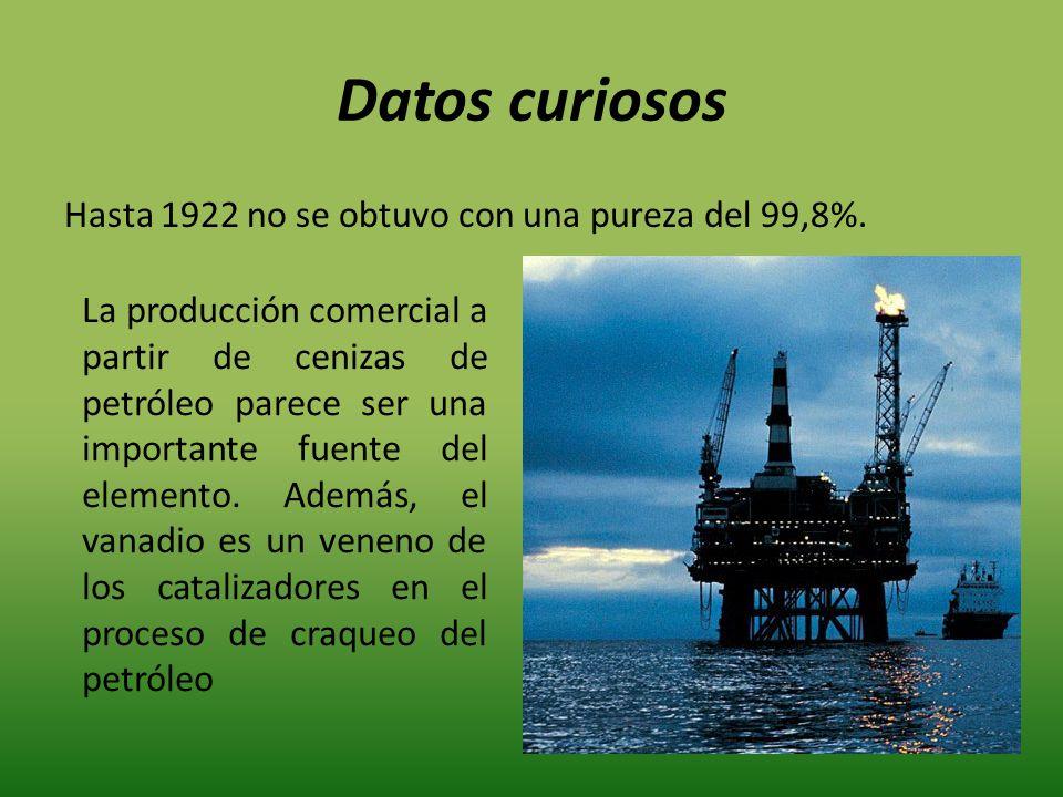 Datos curiosos Hasta 1922 no se obtuvo con una pureza del 99,8%.