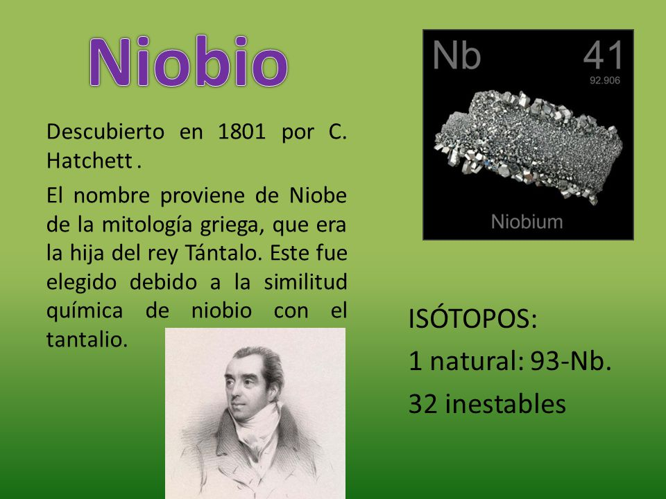 Niobio ISÓTOPOS: 1 natural: 93-Nb. 32 inestables