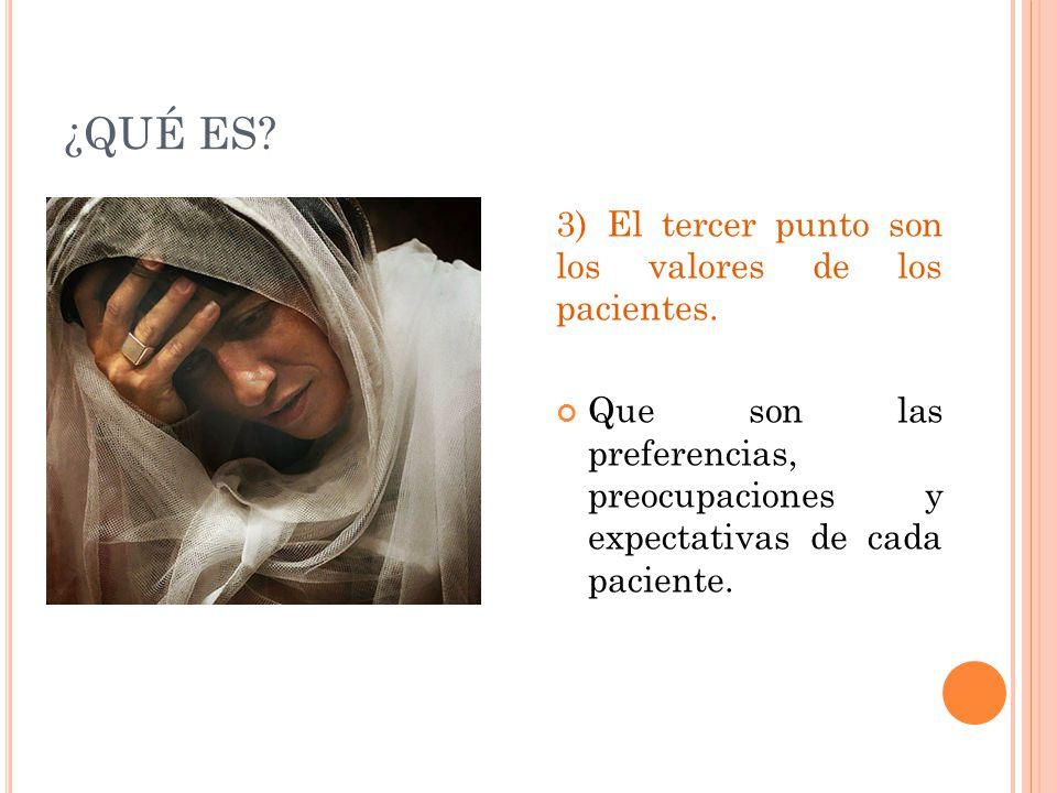 ¿QUÉ ES 3) El tercer punto son los valores de los pacientes.