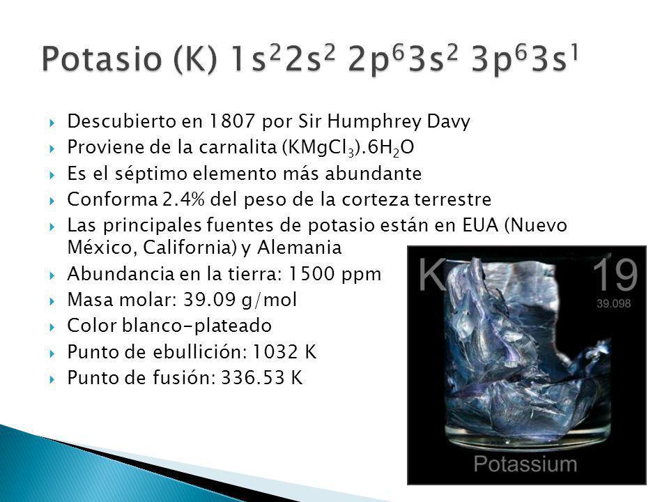 Potasio (K) 1s22s2 2p63s2 3p63s1 Descubierto en 1807 por Sir Humphrey Davy. Proviene de la carnalita (KMgCl3).6H2O.
