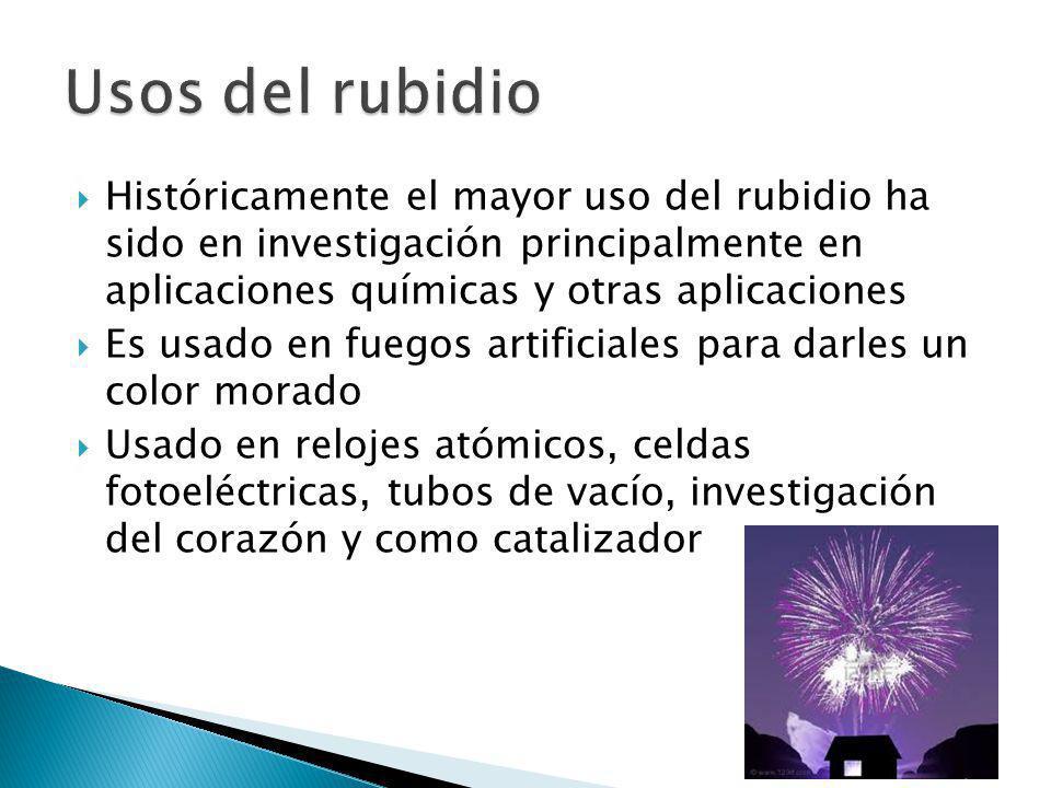 Usos del rubidio Históricamente el mayor uso del rubidio ha sido en investigación principalmente en aplicaciones químicas y otras aplicaciones.