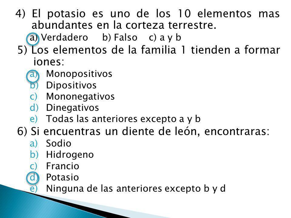 5) Los elementos de la familia 1 tienden a formar iones: