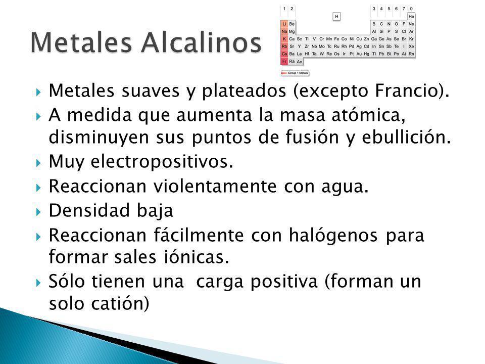Metales Alcalinos Metales suaves y plateados (excepto Francio).