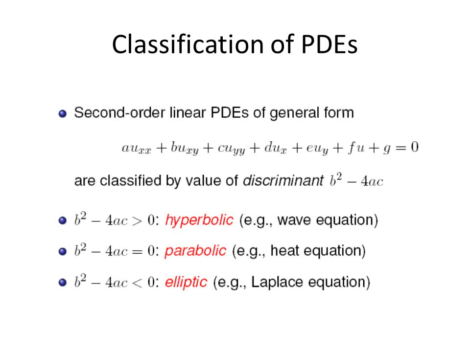 Classification of PDEs