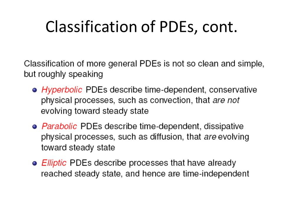 Classification of PDEs, cont.