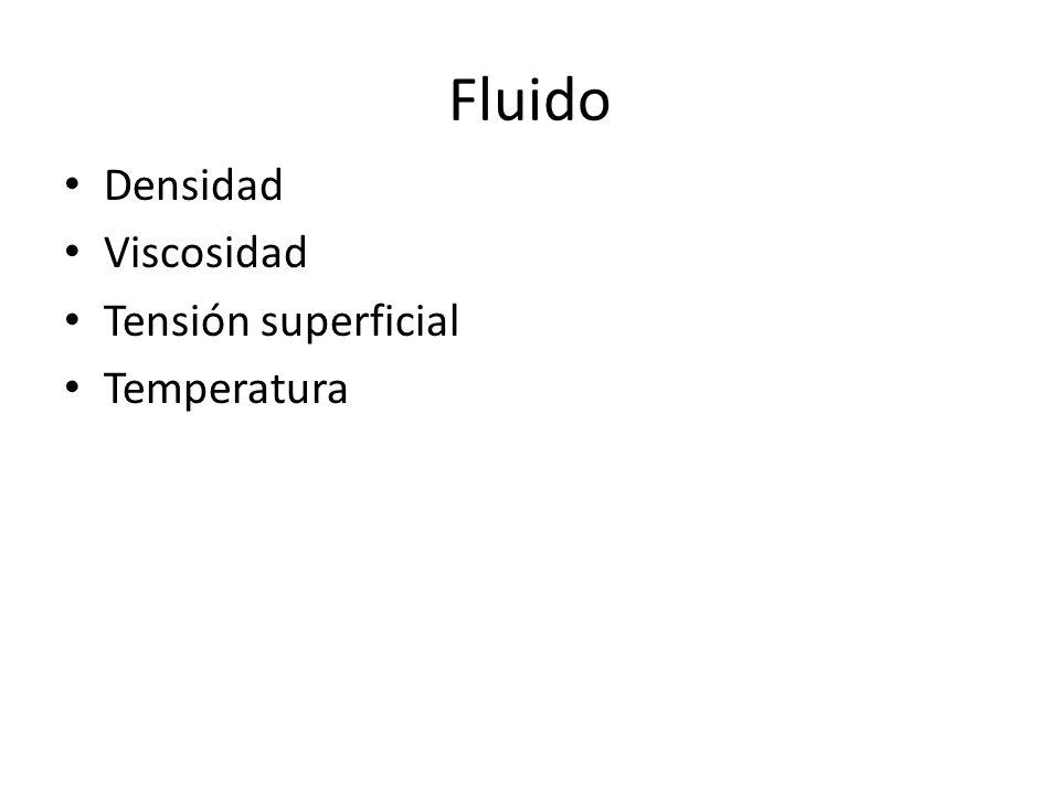 Fluido Densidad Viscosidad Tensión superficial Temperatura