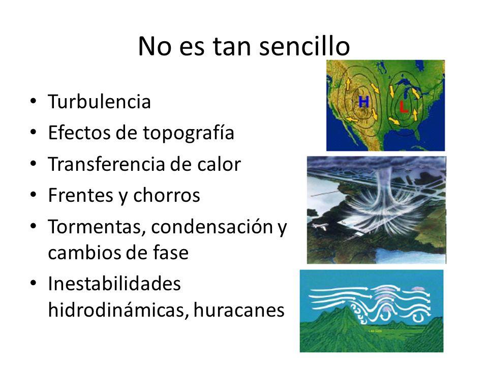 No es tan sencillo Turbulencia Efectos de topografía