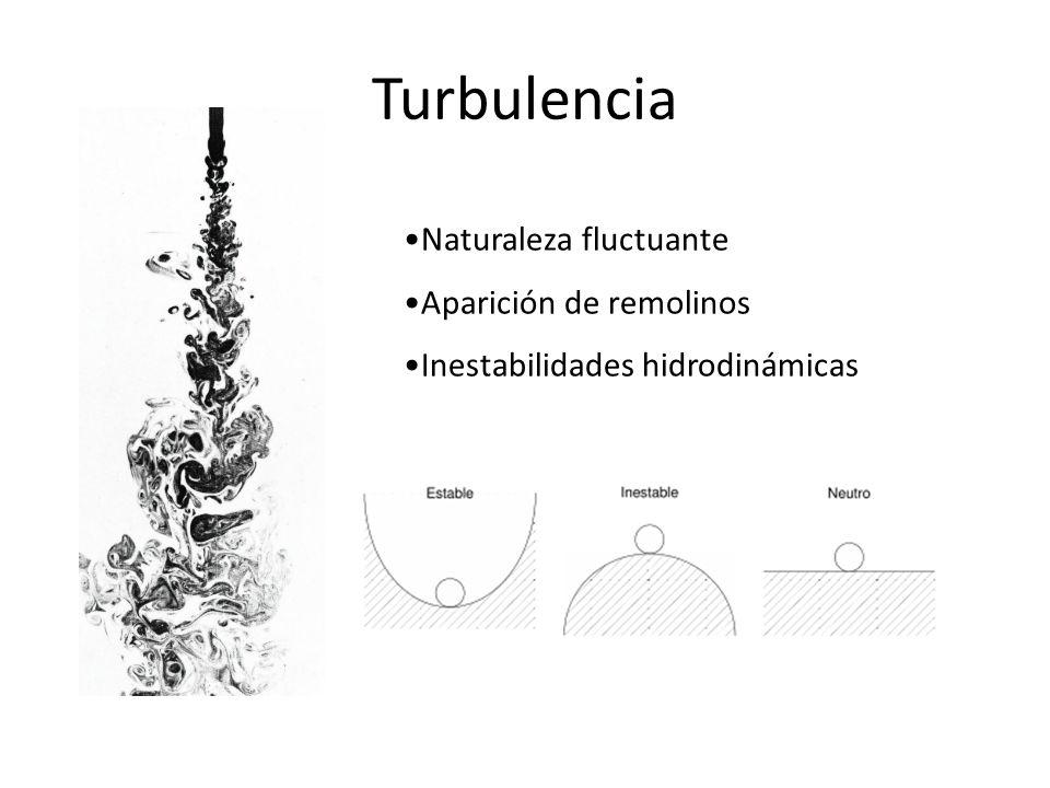 Turbulencia Naturaleza fluctuante Aparición de remolinos
