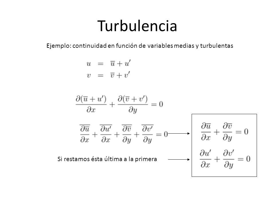 Turbulencia Ejemplo: continuidad en función de variables medias y turbulentas.