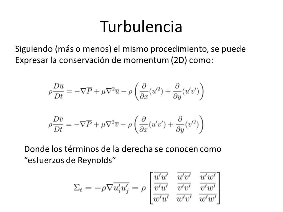 Turbulencia Siguiendo (más o menos) el mismo procedimiento, se puede