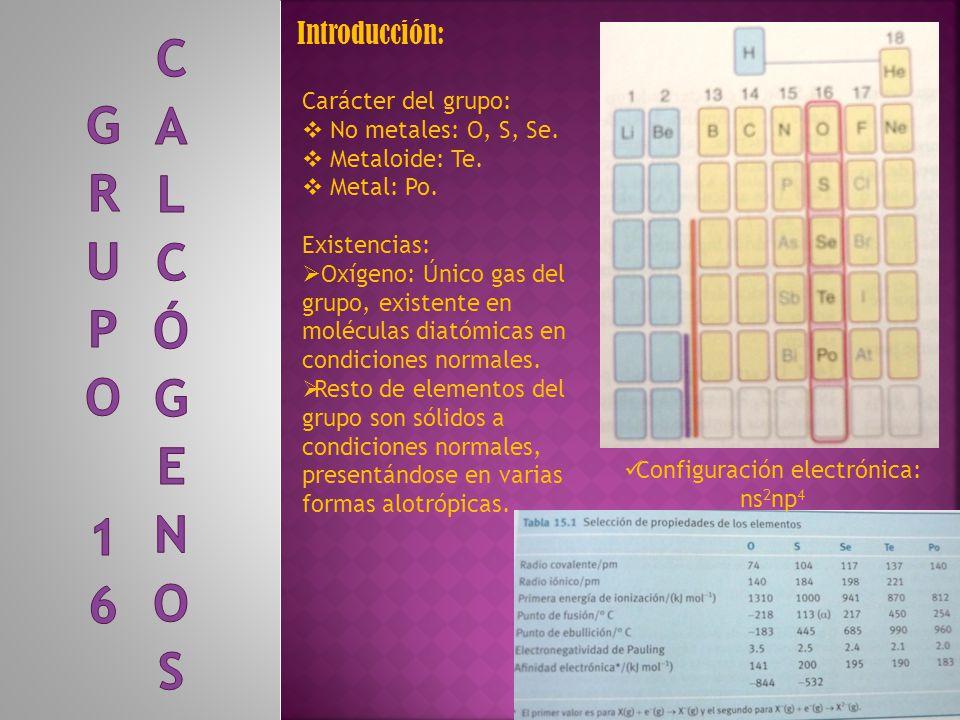 Configuración electrónica: ns2np4