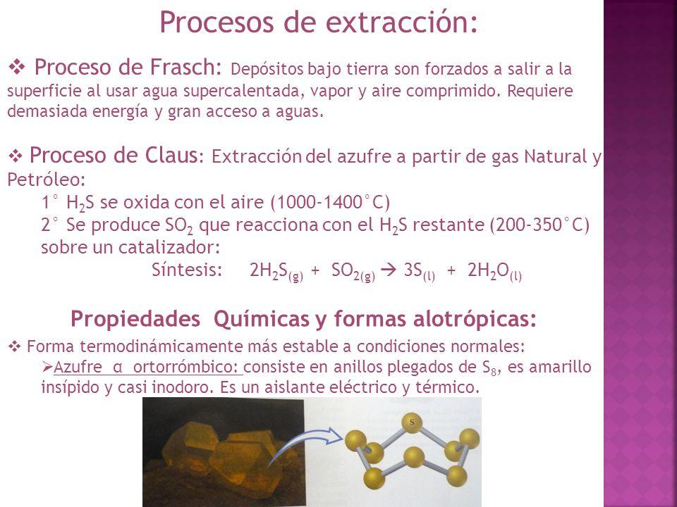 Propiedades Químicas y formas alotrópicas: