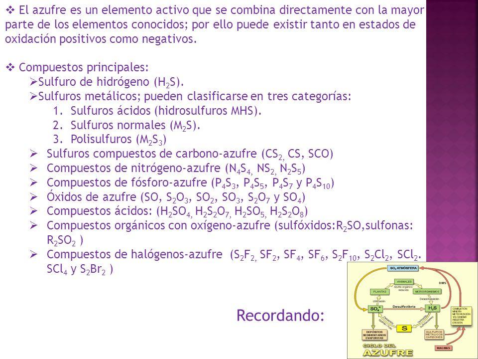 El azufre es un elemento activo que se combina directamente con la mayor parte de los elementos conocidos; por ello puede existir tanto en estados de oxidación positivos como negativos.