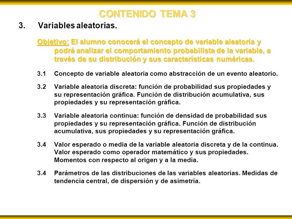 CONTENIDO TEMA 3 Variables aleatorias.
