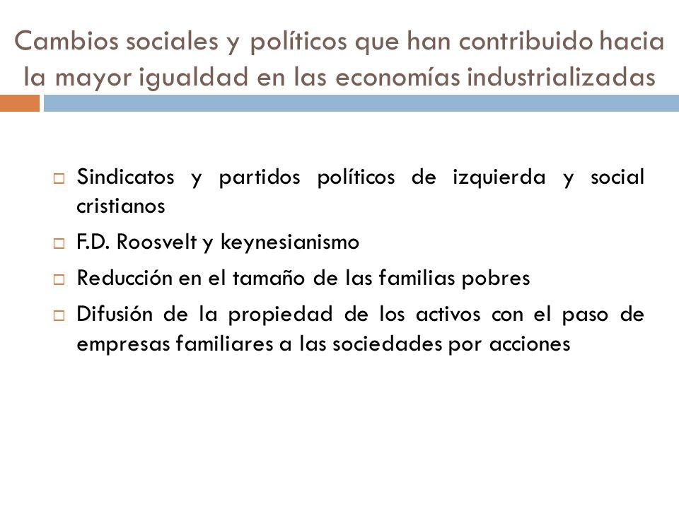 Cambios sociales y políticos que han contribuido hacia la mayor igualdad en las economías industrializadas