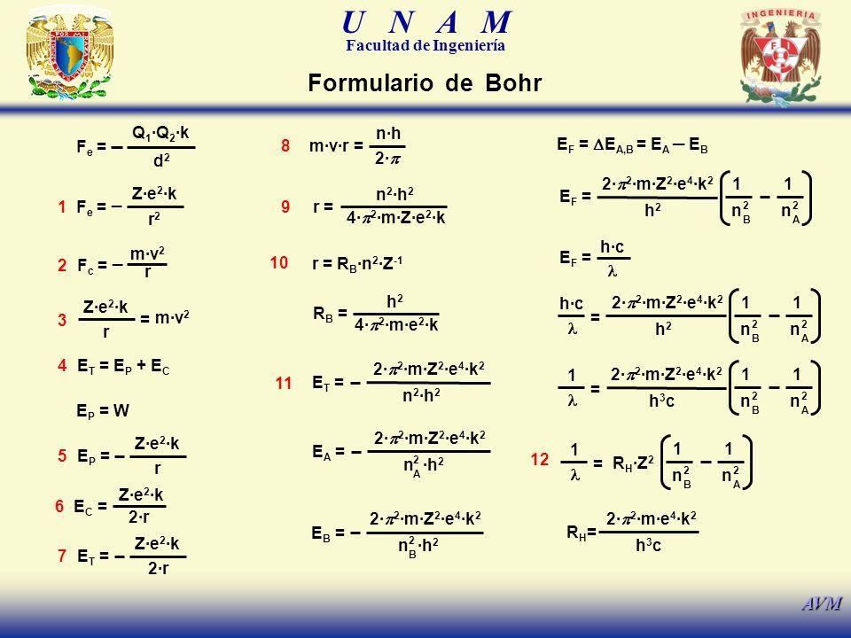 Formulario de Bohr _ _ Fe = Q1·Q2·k d2 8 n·h 2·p m·v·r =