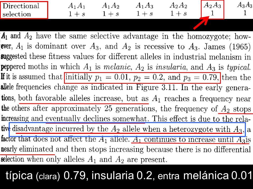 típica (clara) 0.79, insularia 0.2, entra melánica 0.01