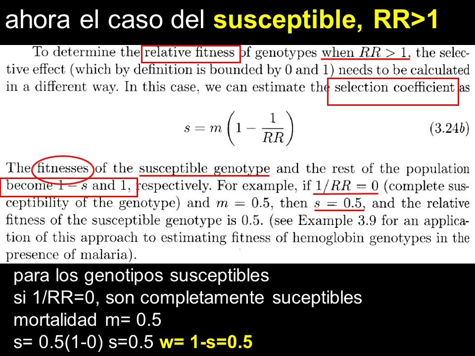 ahora el caso del susceptible, RR>1