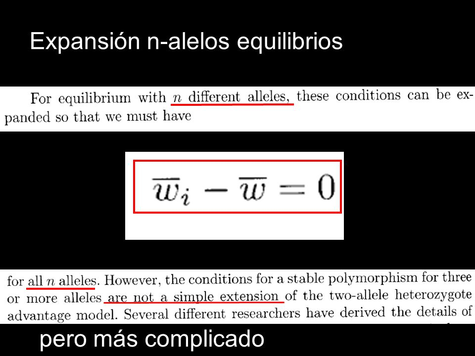 Expansión n-alelos equilibrios