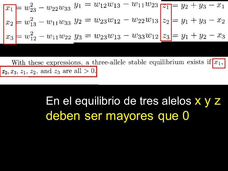 En el equilibrio de tres alelos x y z